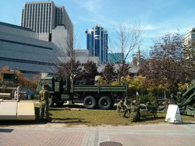 The trucks and tanks at kit pick-up/the expo