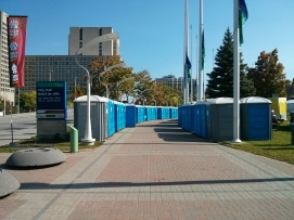 You know there's a half-marathon in town when suddenly there's 40 Port-a-Potties outside city hall...
