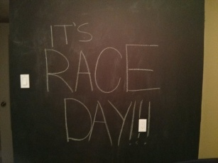 What better use of the newly painted chalk wall than to let everyone know I was excited?!