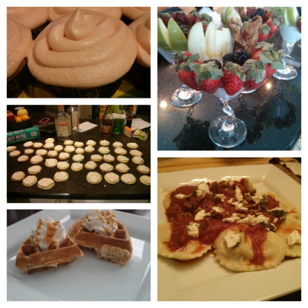 So much deliciousness. From top left, clockwise: Peach Bellini Cupcakes, Cinnamon Brown Sugar Greek Yogurt Cocktails, Butternut Squash Ravioli with Goat Cheese and Pecans, Caramel Apple Spice Waffles, Lemon-Lime Cookies