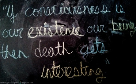 """If consciousness is our existence, our being, then death gets interesting."""