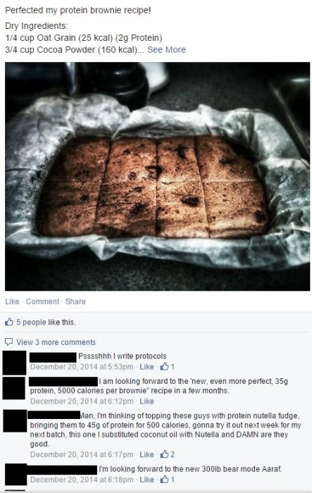 """Aaraf's """"protocol"""" for his protein brownies"""